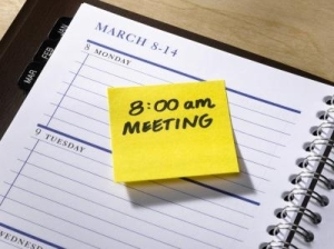 A diary with a meeting scheduled